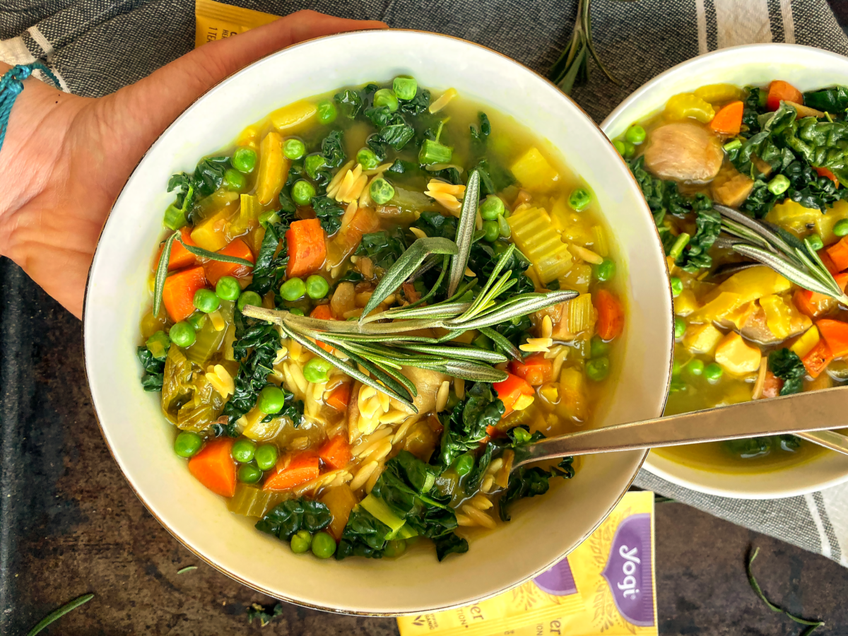 Vegetable Orzo Soup Infused with Yogi Lemon Ginger Tea 2 | Yogi Tea